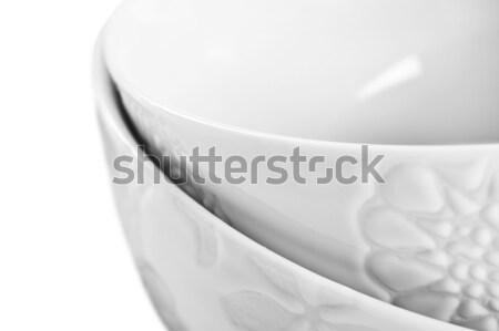 Iki beyaz çanaklar restoran akşam yemeği Stok fotoğraf © tish1