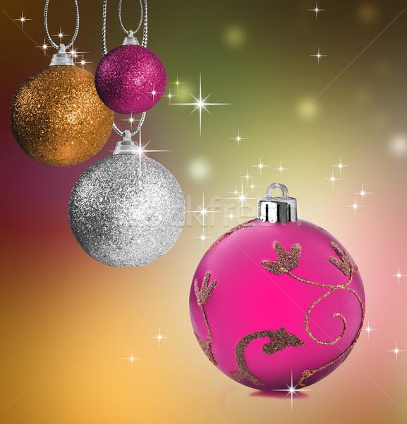 Renkli Noel önemsiz şey star pembe Stok fotoğraf © tish1
