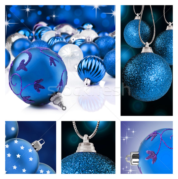 Collage of blue  christmas decorations on different backgrounds Stock photo © tish1
