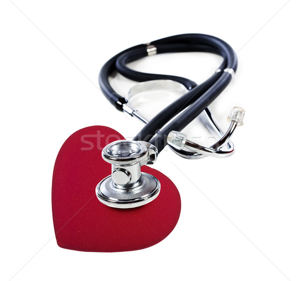 Médecins stéthoscope écouter rouge coeur blanche Photo stock © tish1