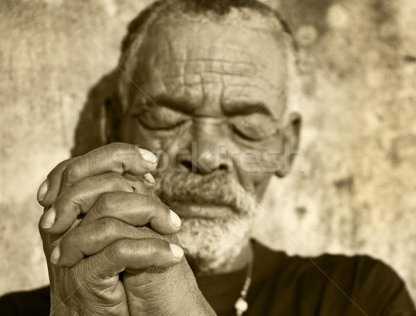 Foto stock: Velho · africano · homem · negro · cara · sol · pele