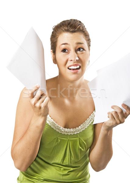 Mooie jonge vrouw overbelasten werk witte ruimte Stockfoto © tish1