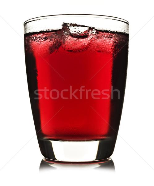Egy üveg piros gyümölcslé jég fehér Stock fotó © tish1