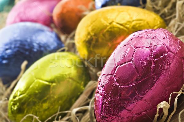 Renkli paskalya yumurtası saman sığ mutlu Stok fotoğraf © tish1