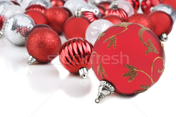 Rot Weihnachten Spielerei Ornamente Hintergrund Spaß Stock foto © tish1