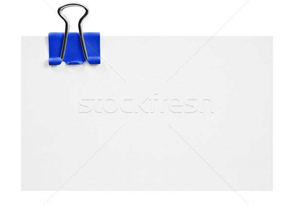 Weiß Karte blau Clip Büro Hintergrund Stock foto © tish1