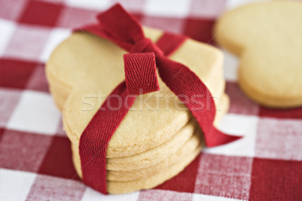 Heart shaped cookies with a red ribbon Stock photo © tish1