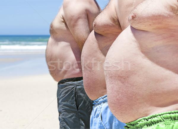 Közelkép három elhízott kövér férfiak tengerpart Stock fotó © tish1