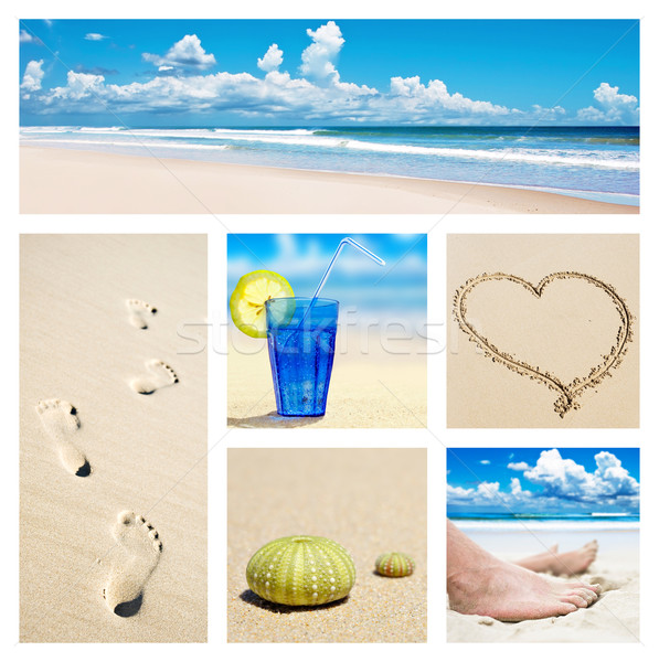 Collage of beach holiday scenes Stock photo © tish1