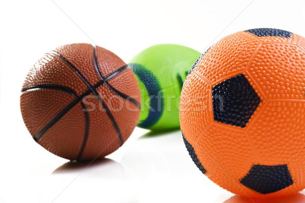 Coleção esportes bola futebol rugby cesta Foto stock © tish1