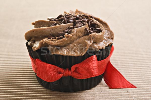 Foto stock: Chocolate · vermelho · arco · festa · bolo