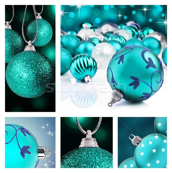Kolaj mavi Noel süslemeleri farklı arka Stok fotoğraf © tish1