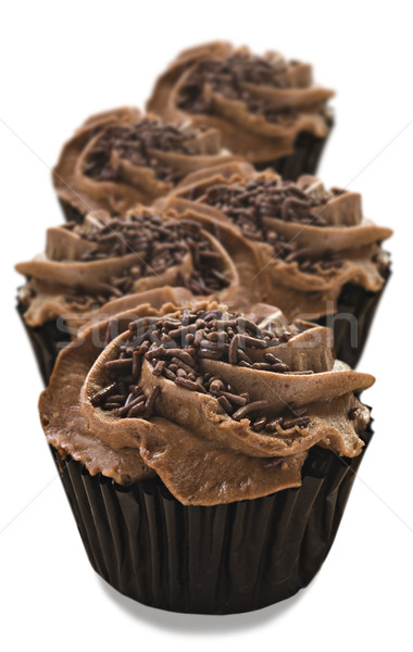 Lovely fresh chocolate cupcakes - very shallow depth of field Stock photo © tish1