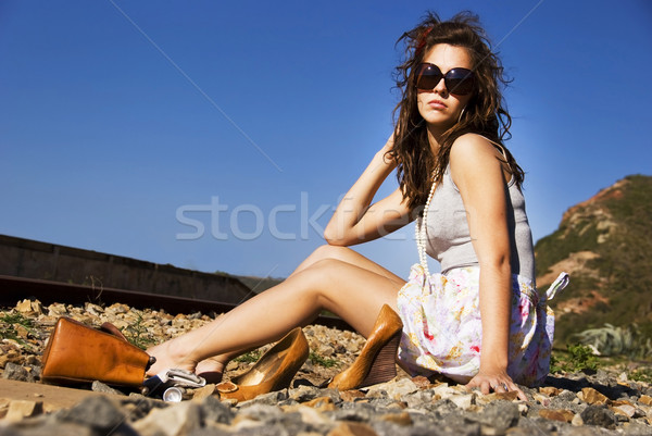 Young model with sunglasses posing Stock photo © tish1