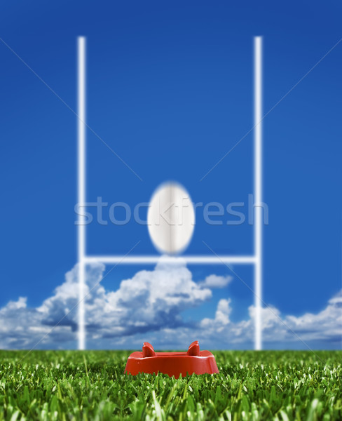 Rugby ball kicked to the posts showing movement Stock photo © tish1