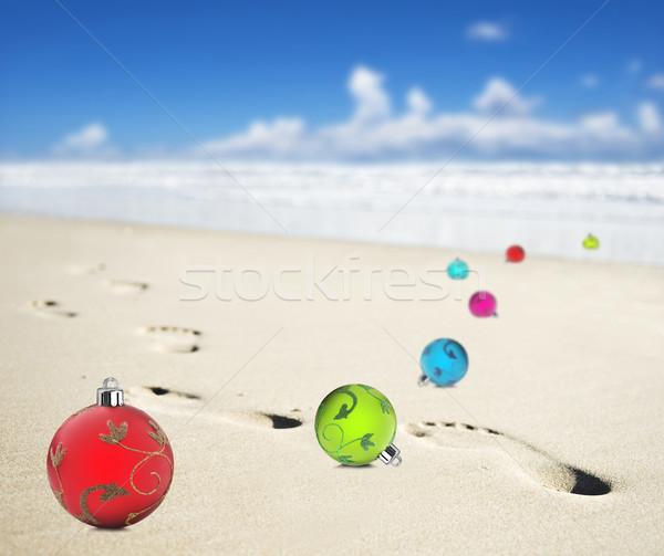 Noel plaj ayak izleri deniz okyanus kum Stok fotoğraf © tish1