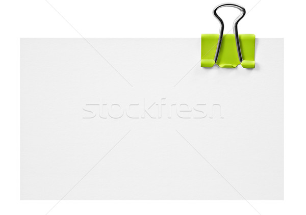 Blanche carte vert clip bureau fond Photo stock © tish1