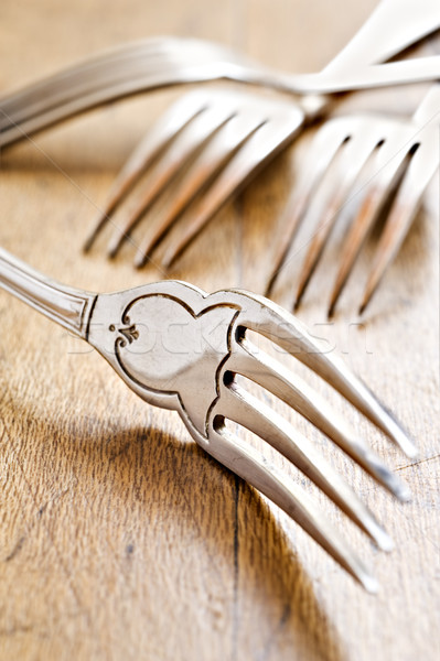 Antique forks at close up - very shallow depth of field Stock photo © tish1
