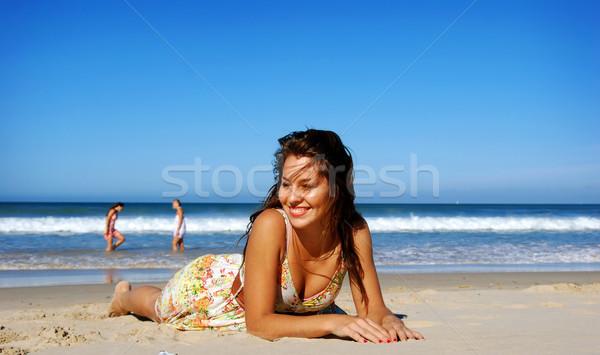 Belle fille plage sexy nature été bleu Photo stock © tish1
