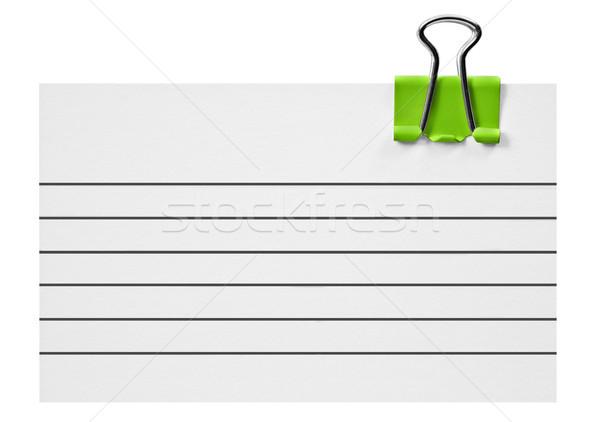 Beyaz kart yeşil kırpmak ofis arka plan Stok fotoğraf © tish1