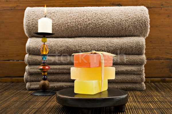 Soap candles and towels in a spa Stock photo © tish1