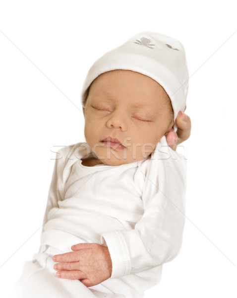 New born baby sleeping peacefully - dressed in white Stock photo © tish1