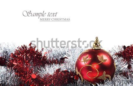 Rot Weihnachten Dekorationen weiß Raum Text Stock foto © tish1