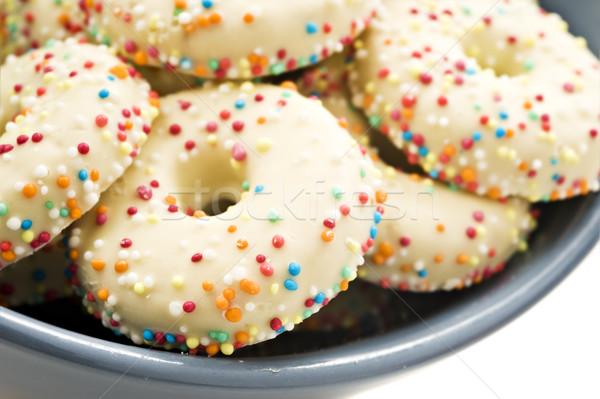 Dekoriert Cookies Schüssel Essen Zucker Cookie Stock foto © tish1
