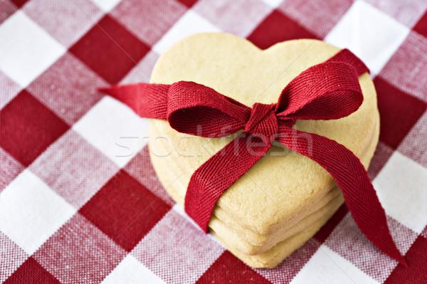 Herz Cookies Tuch Textur Stock foto © tish1