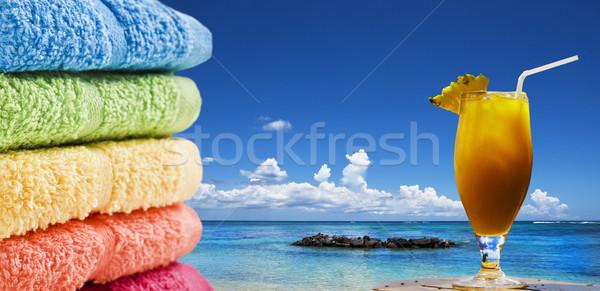 Foto stock: Colorido · toalhas · fruto · coquetel · praia · água