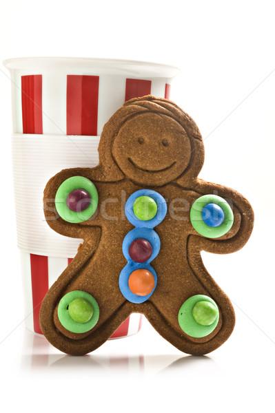 Gingerbread man café vermelho branco caneca de café colorido Foto stock © tish1