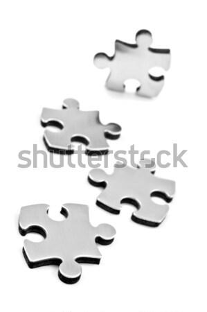 Edelstahl Stücke weiß Puzzleteile Raum Text Stock foto © tish1