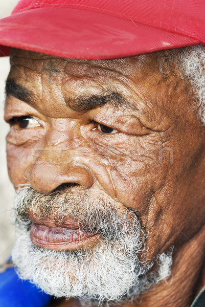 Old African black man with characterful face Stock photo © tish1