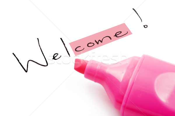 The word welcome highlighted in pink Stock photo © tish1