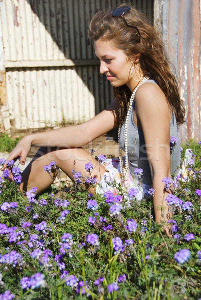 Beautiful woman having a silent moment in the field Stock photo © tish1