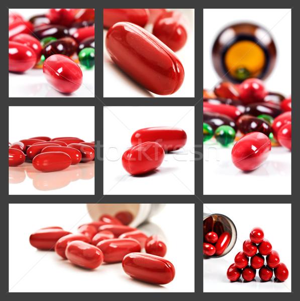 Kollázs piros tabletták fehér választék boldog Stock fotó © tish1