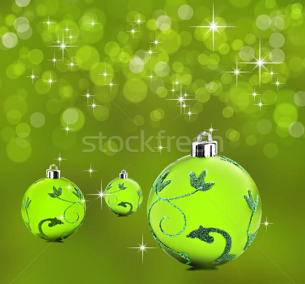 Yeşil Noel dekoratif önemsiz şey arka plan Stok fotoğraf © tish1