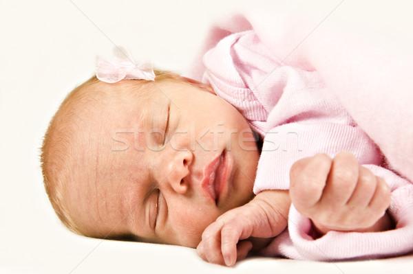новых родившийся спальный розовый лице Сток-фото © tish1