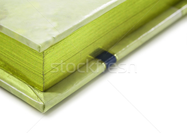 Close up of a green colored journal on white Stock photo © tish1