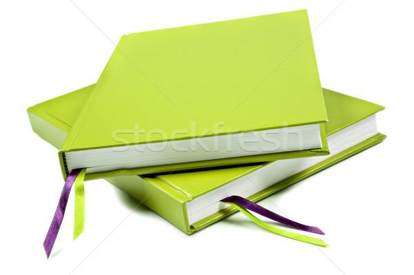 Zöld notebook merő fehér űr szöveg Stock fotó © tish1