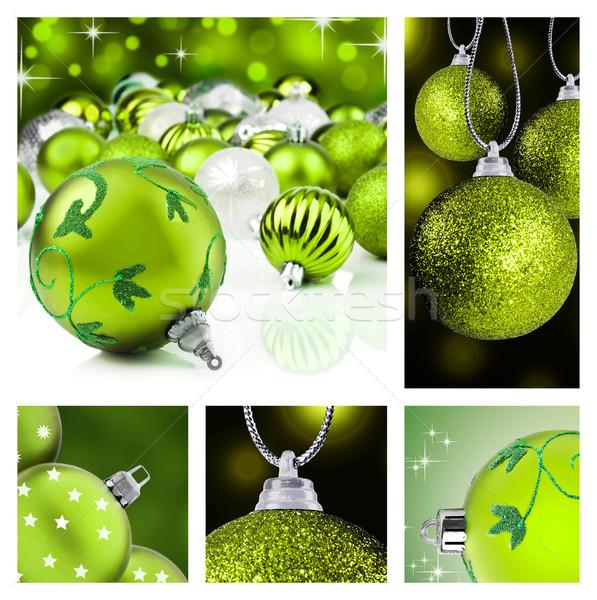 Kolaj yeşil Noel süslemeleri farklı arka Stok fotoğraf © tish1