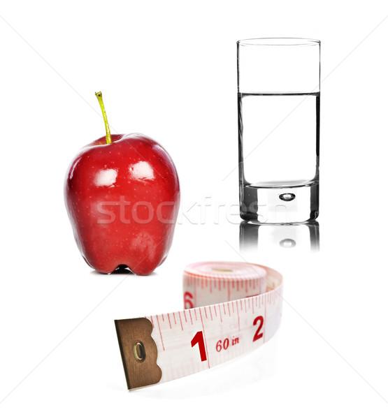 Pomme verre eau mètre à ruban blanche Photo stock © tish1