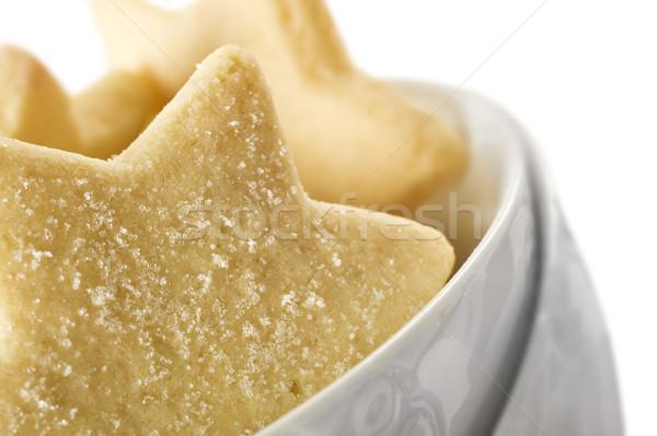 Star kurabiye beyaz çanak arka plan Stok fotoğraf © tish1