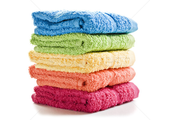 Colorful towels on a white background with space for text Stock photo © tish1