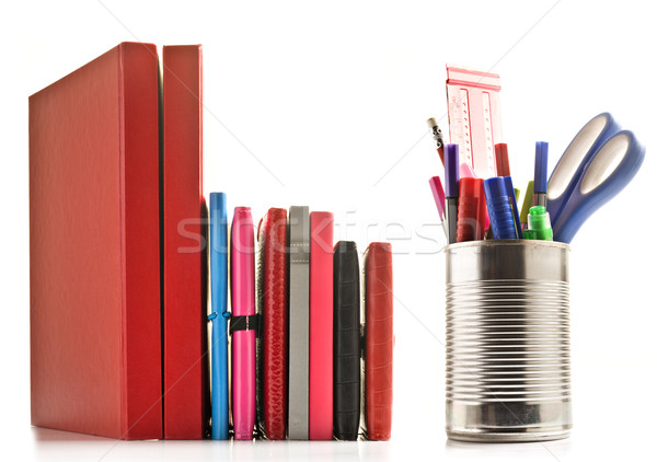 Stock photo: Stationery and books on white background