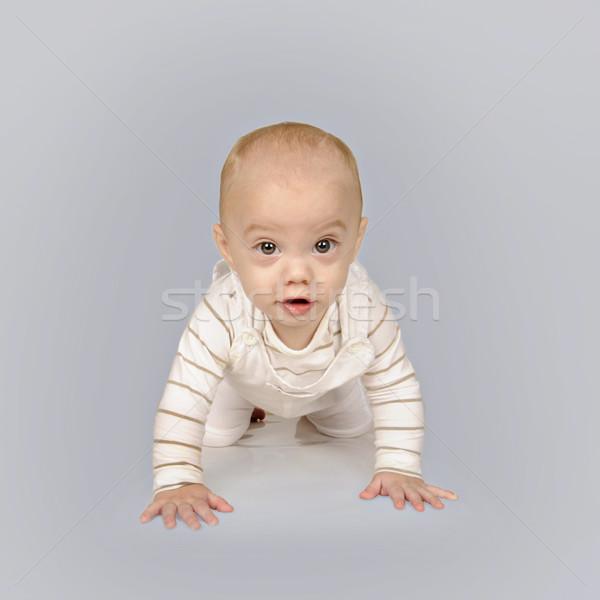 Cute wenig Baby Junge weiß Kleidung Stock foto © tish1