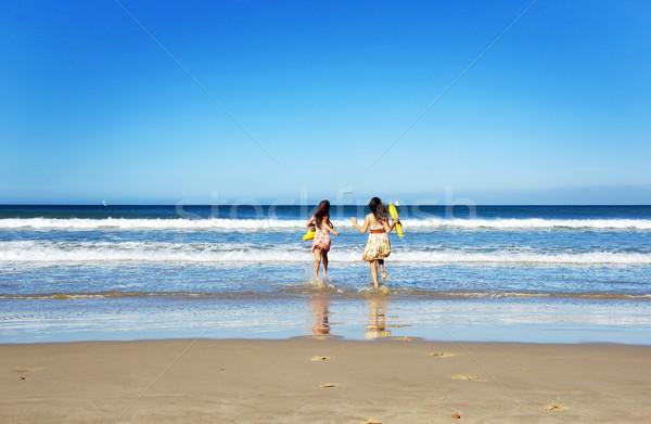 Kettő fiatal nő szórakozás tengerpart nyár nap Stock fotó © tish1