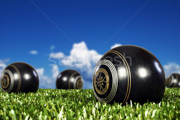 Close up of bowling balls on a bowling field Stock photo © tish1