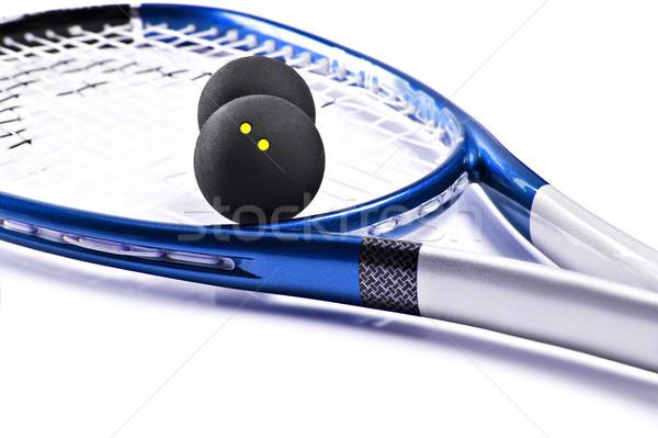 Kék ezüst fallabda ütő golyók labda Stock fotó © tish1