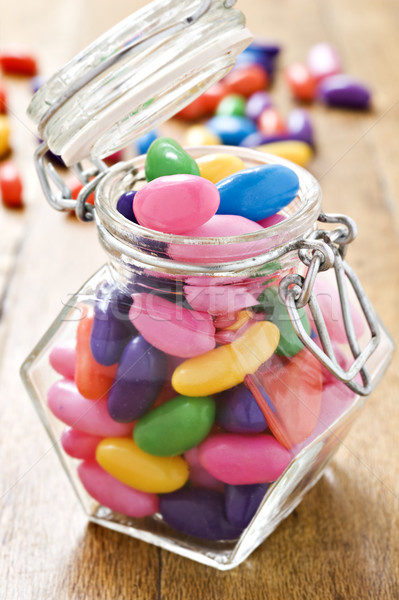 Colorful jelly beans in a bottle - very shallow depth of field Stock photo © tish1